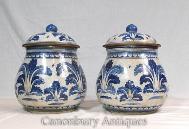 Pair Chinese Blue and White Porcelain Ming Urns Pots Jars