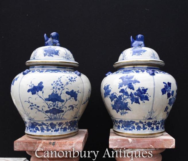 Pair Chinese Blue and White Porcelain Vases Lidded Urns Kangxi