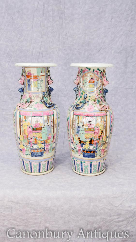 Pair Chinese Cantonese Porcelain Urns Vases Canton Ceramic