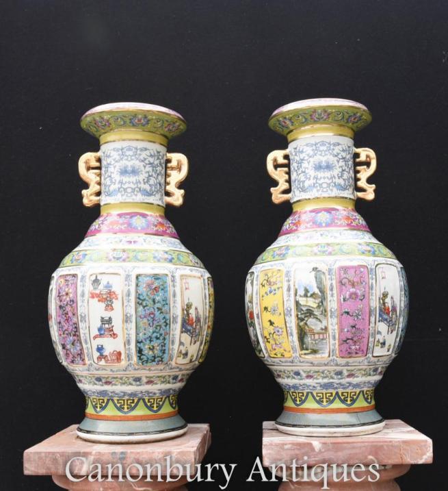 Pair Chinese Famille Rose Porcelain Vases Urns