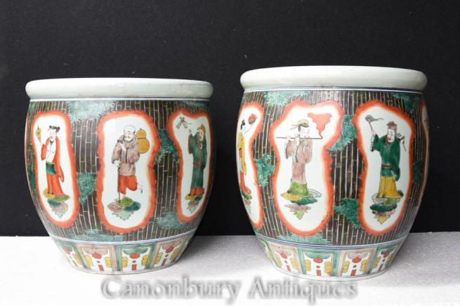 Pair Chinese Famille Verte Porcelain Planters Bowls China Pottery