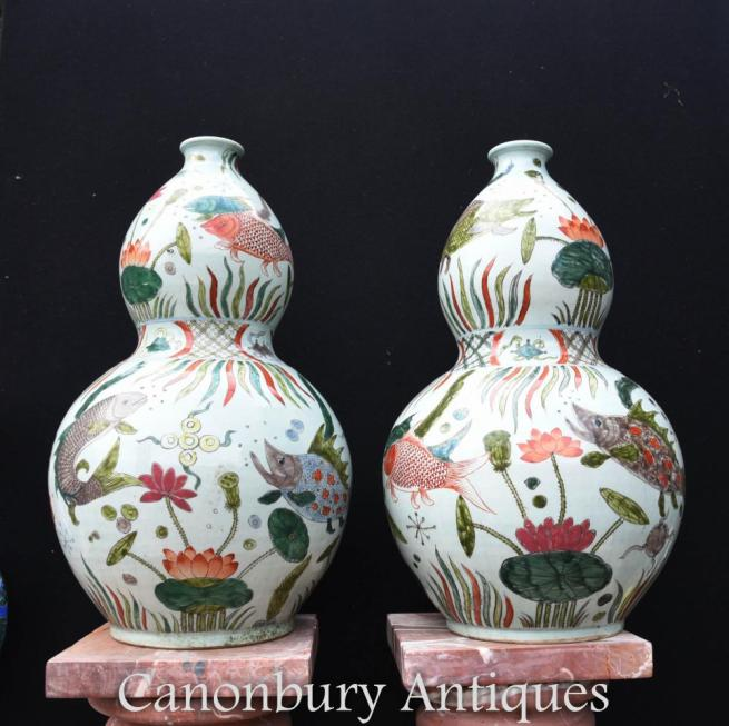 Pair Chinese Qian Porcelain Goldfish Vases Urns