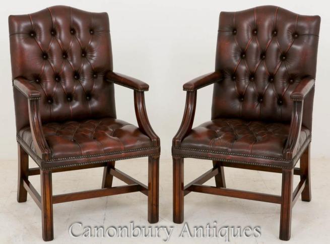 Pair Deep Button Leather Gainsborough Arm Chairs