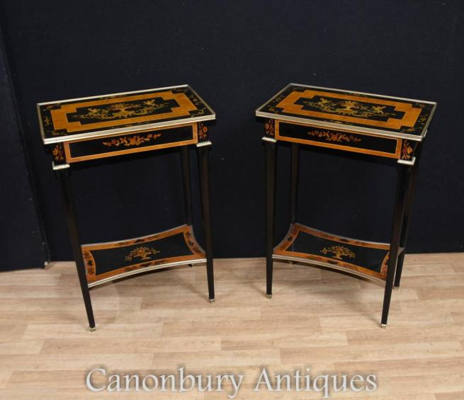 Pair Empire Black Lacquer Side Tables Cocktail