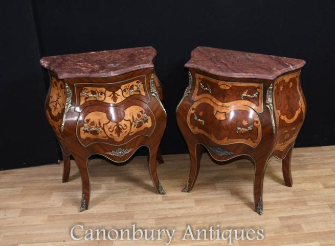 Pair Empire Bombe Commodes Bedside Chests Cabinets French