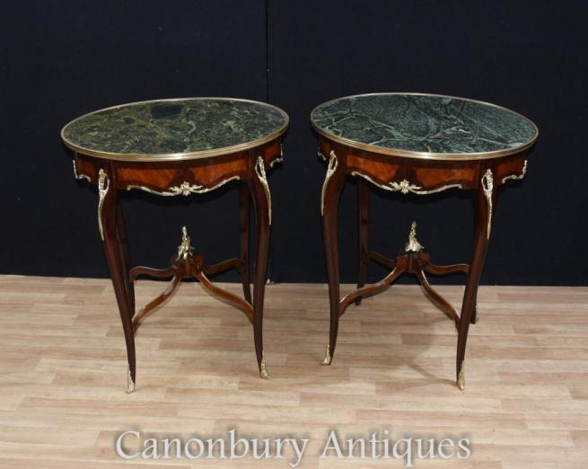 Pair Empire Kingwood Side Tables French Furniture