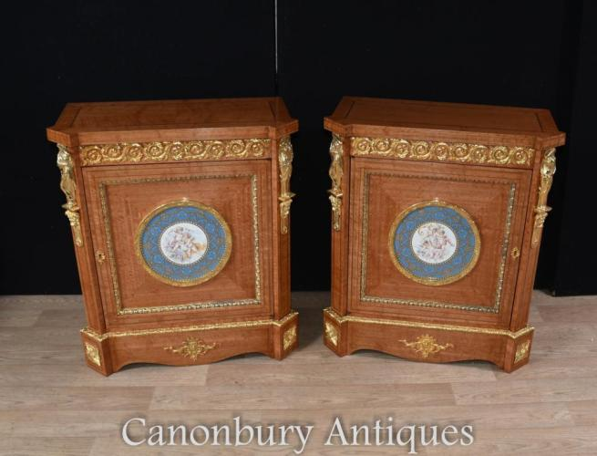 Pair Empire Satinwood Satinwood Cabinets with Sevres Plaques