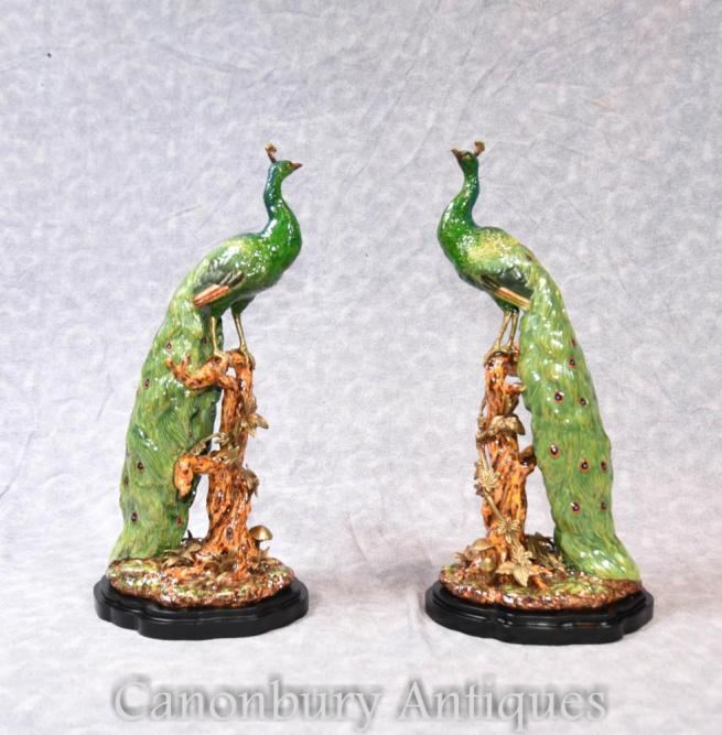 Pair English Majolica Porcelain Peakcock Statues