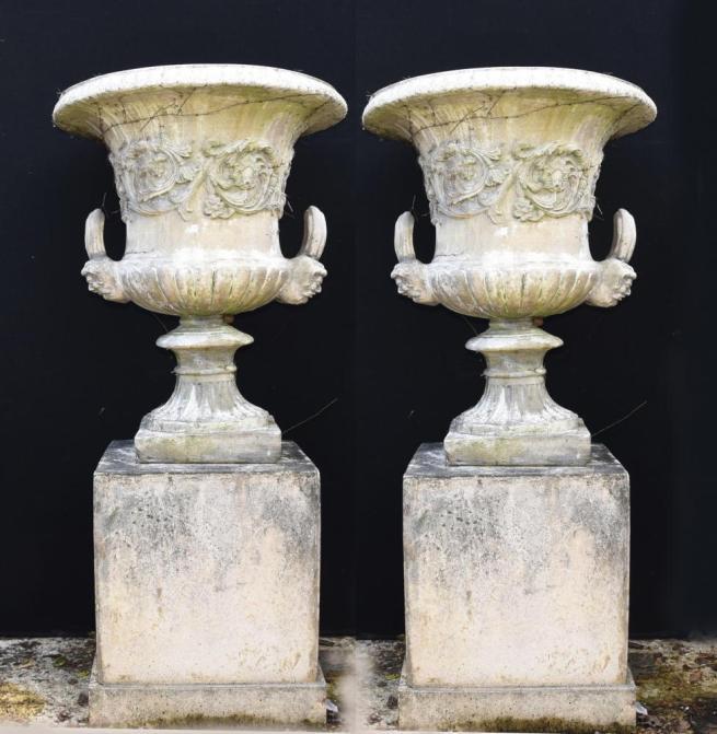 Pair English Stone Campana Garden Urns Pedestal Planters