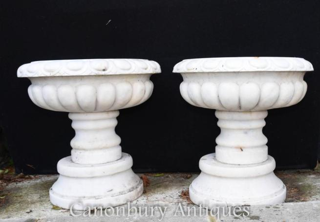 Pair English Stone Garden Urns Planters Pedestal Base