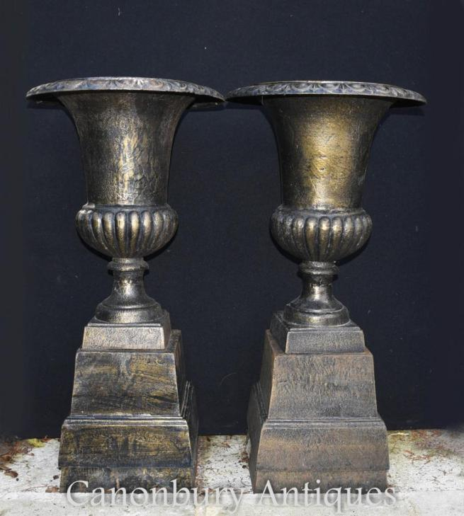 Pair English Victorian Cast Iron Garden Urns Classical Pedestal