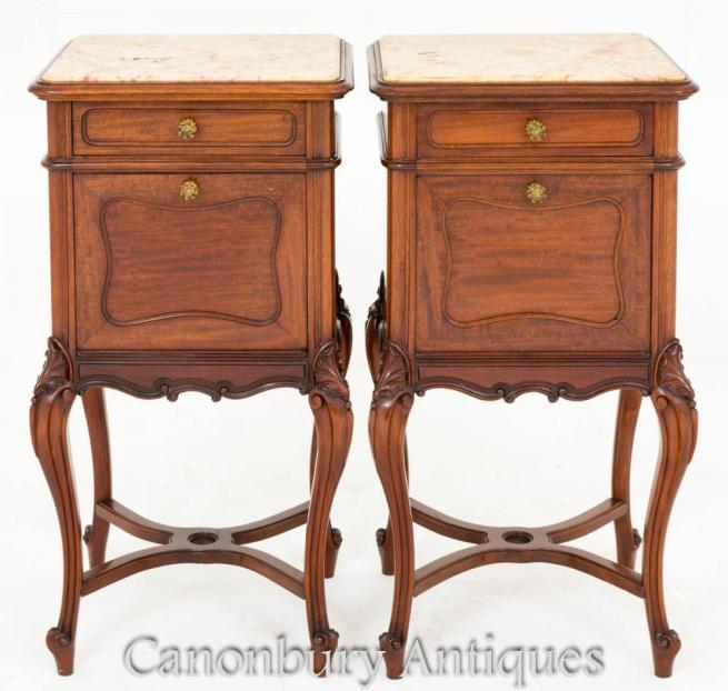 Pair French Antique Mahogany Bedside Chest Cabinets