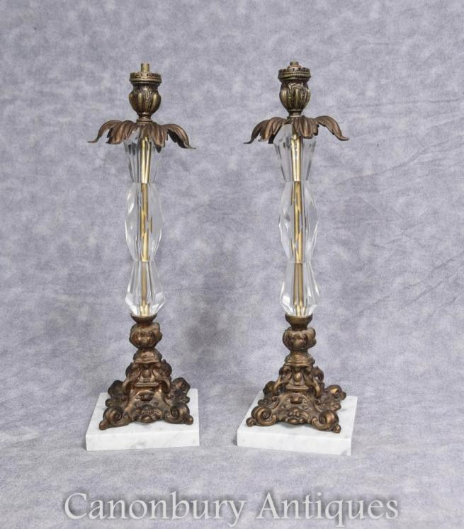 Pair French Art Nouveau Ormolu and Crystal Glass Table Lamps Lights