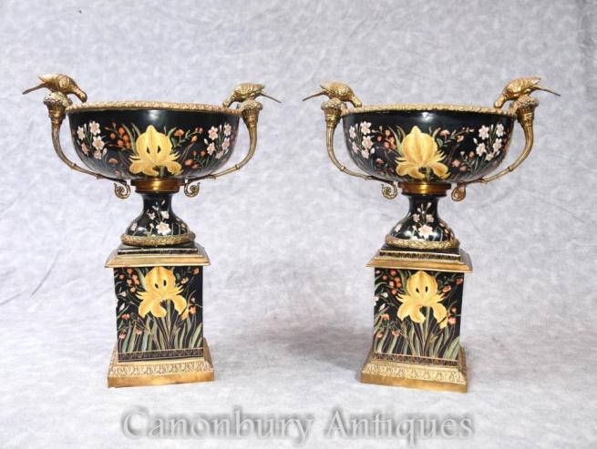 Pair French Art Nouveau Porcelain Urns on Stands Ormolu Birds