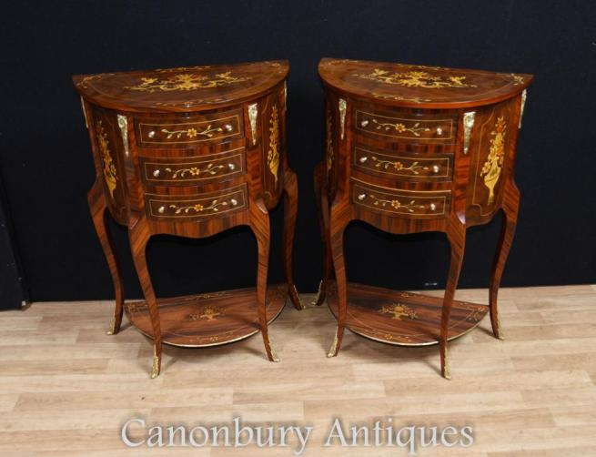 Pair French Bedside Cabinets Nightstands Inlay