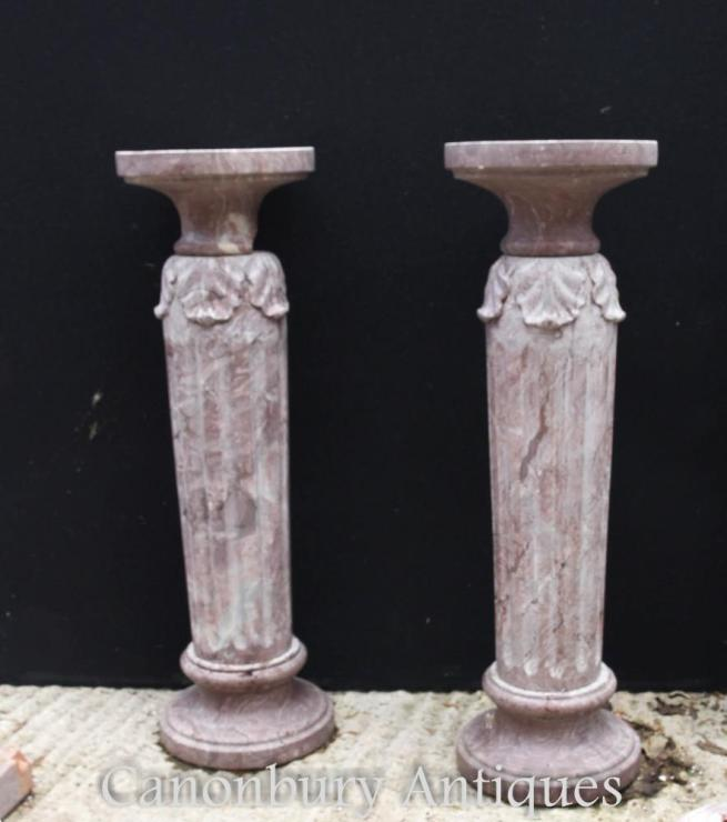 Pair French Classical Marble Column Pedestal Table Stands