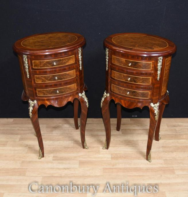 Pair French Empire Bedside Cabinets Oval Nightstands