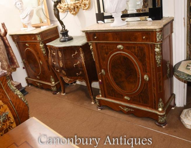 Pair French Empire Cabinets Kingwood Ormolu Chest