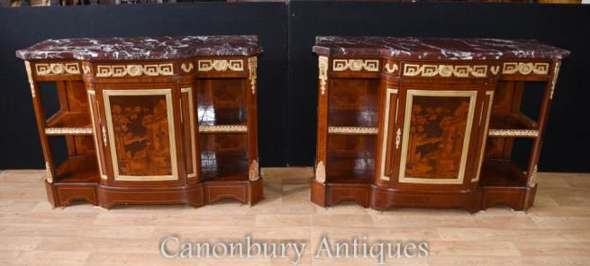 Pair French Empire Cabinets Sideboards Marquetry Inlay