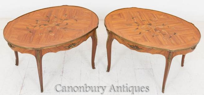 Pair French Empire Coffee Tables Side Inlay