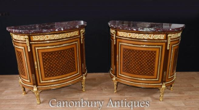 Pair French Empire Demi Lune Commodes Marquetry Cabinets Gilt