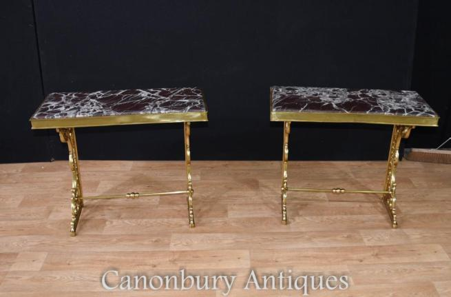 Pair French Empire Gilt Console Tables Ormolu