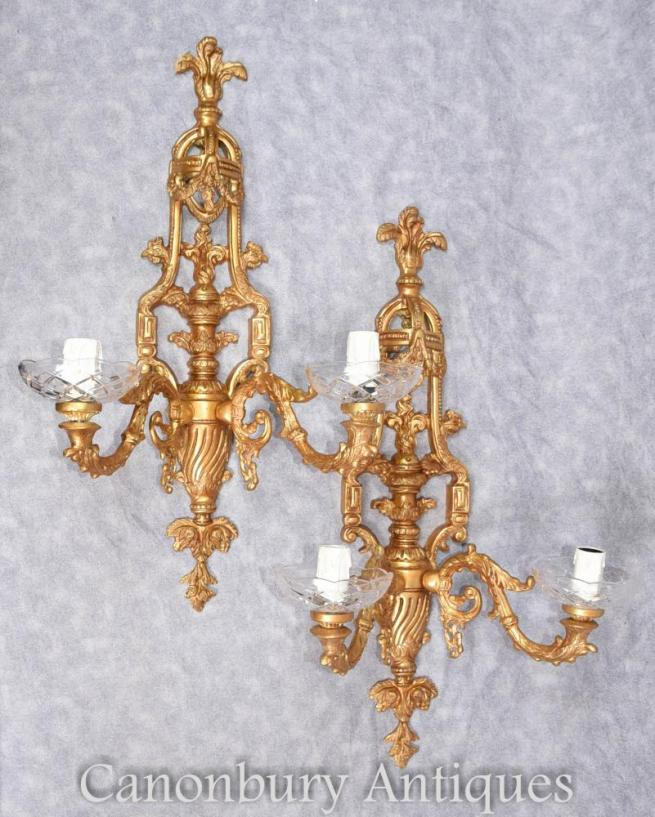 Pair French Empire Gilt Sconces Wall Lights Appliques
