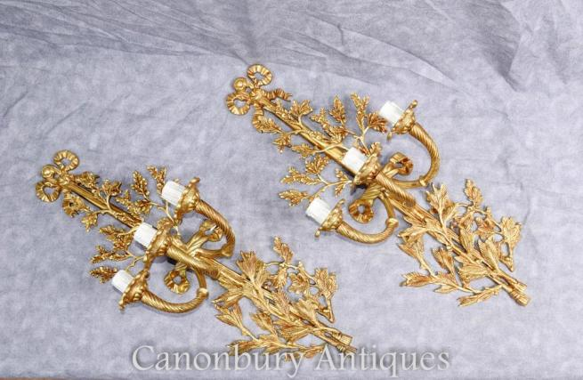 Pair French Empire Gilt Sconces Wall Lights Ormolu Candelabras