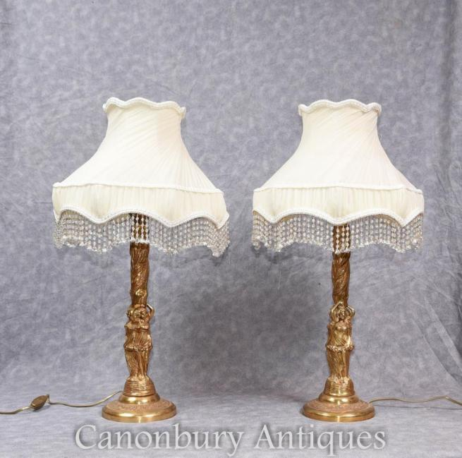 Pair French Empire Gilt Table Lamps Lights