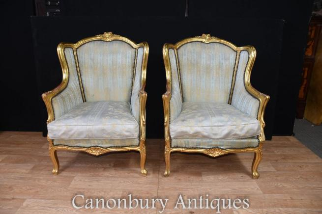 Pair French Empire Gilt Tub Arm Chairs Fauteuils
