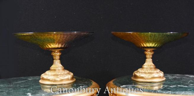 Pair French Empire Glass Ormolu Comports Dishes Bowl