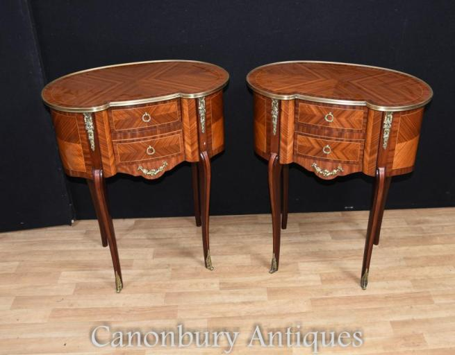 Pair French Empire Kidney Bean Bedside Chests Tables