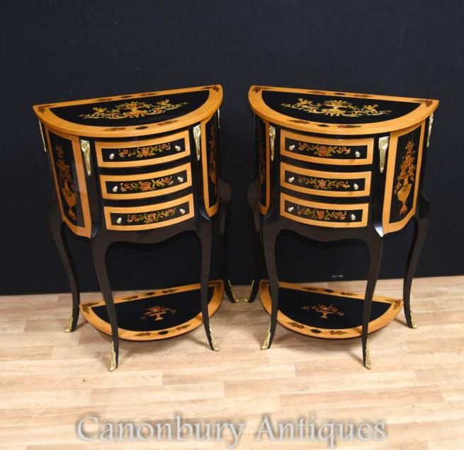 Pair French Empire Lacquer Bedside Cabinets Nightstands