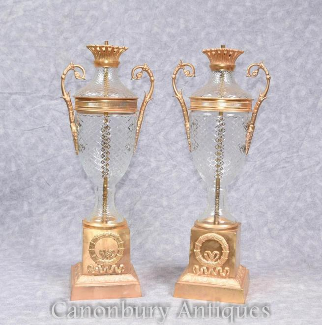 Pair French Empire Ormolu Cut Glass Table Lamps Lights