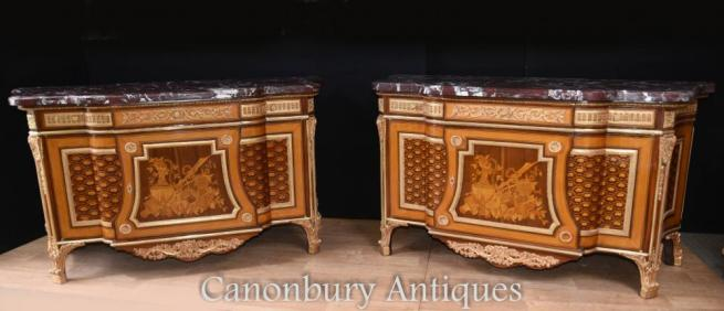 Pair French Empire Ornate Commodes Chests of Drawers