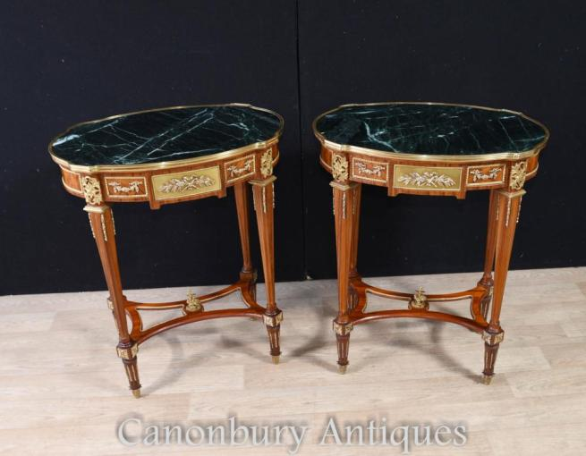 Pair French Empire Oval Side Tables Marble Top Cocktail