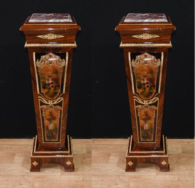 Pair French Empire Pedestal Table Stands Ormolu