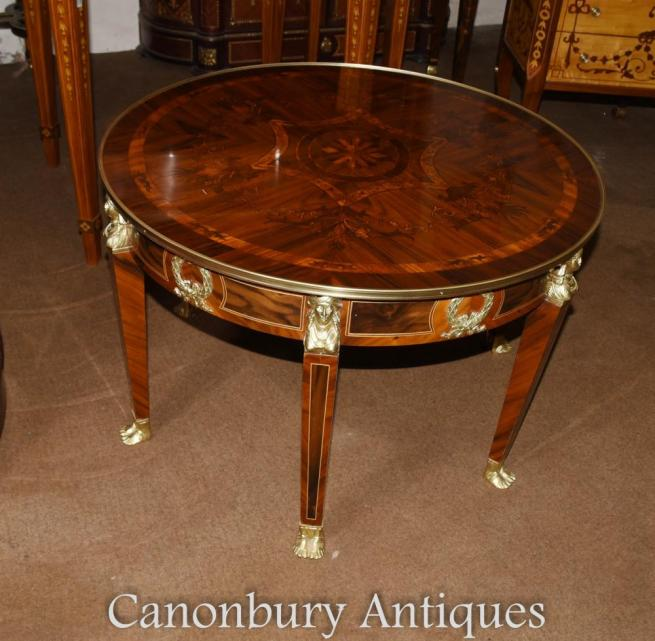 Pair French Empire Round Low Side Tables Inlay