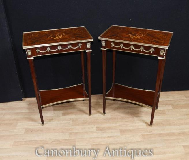 Pair French Empire Side Tables Marquery Inlay