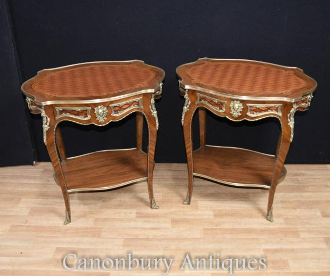 Pair French Empire Side Tables Parquetry Inlay