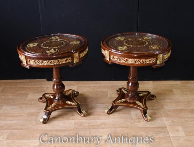 Pair French Empire Tables in Gilt and Mahogany Side Table