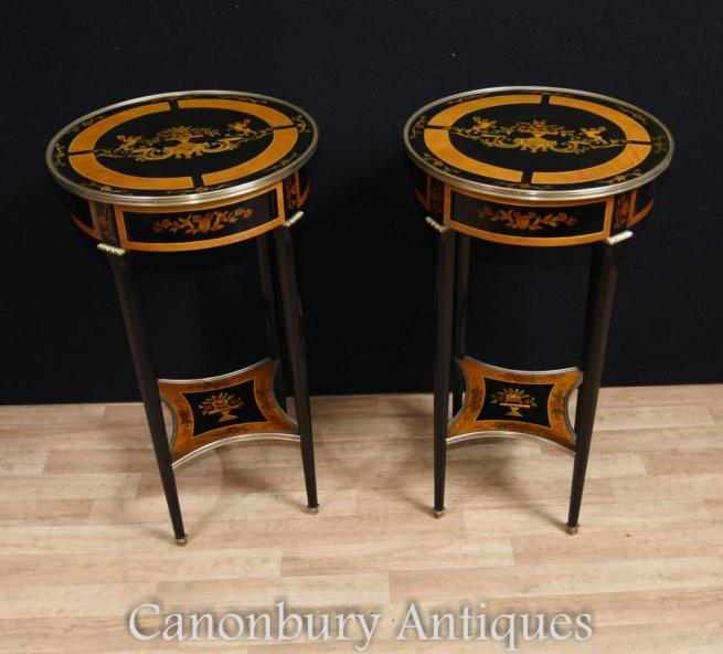 Pair French Lacquer Side Tables Empire Cocktail