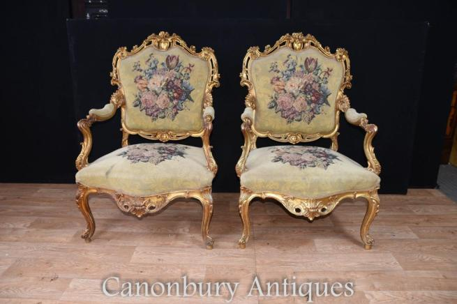 Pair French Louis XVI Gilt Arm Chairs Embroidered Upholstery Fauteuils