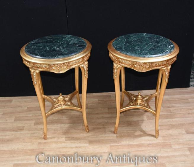 Pair French Louis XVI Gilt Side Tables
