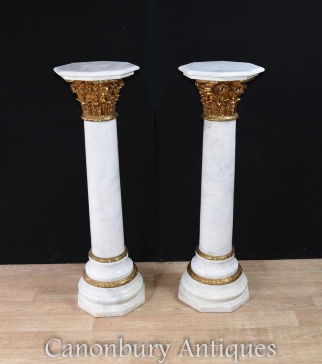 Pair French Marble Empire Pedestal Stand Tables Corinthian Column