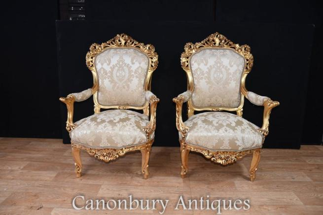 Pair French Rococo Gilt Arm Chairs Fauteuil