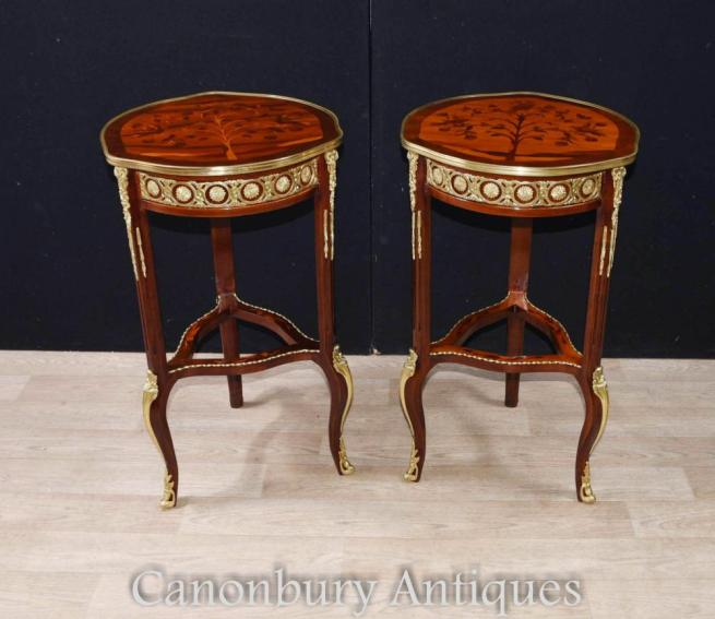 Pair French Side Cocktail Tables Louis XVI