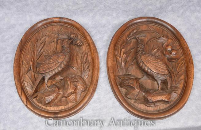 Pair German Black Forest Carved Game Bird Plaques Pheasant 1910