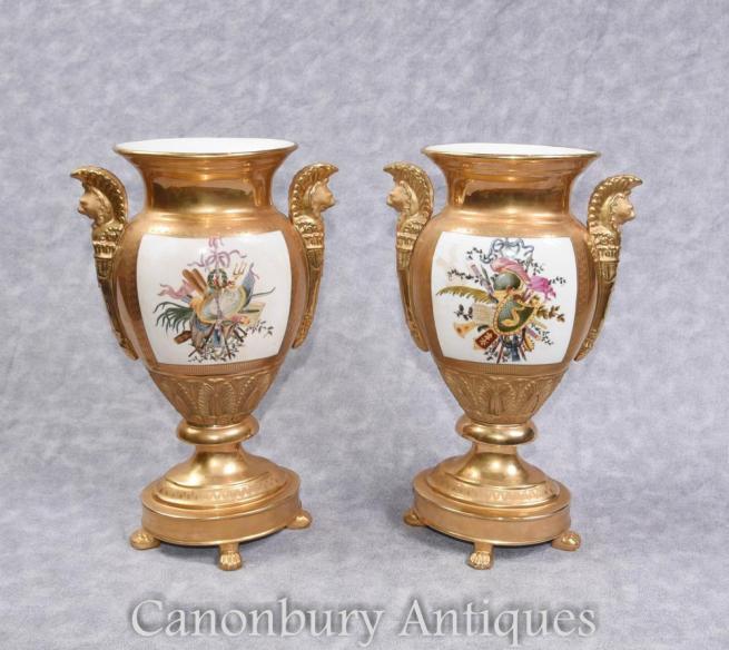 Pair German Dresden Porcelain Floral Vases Urns