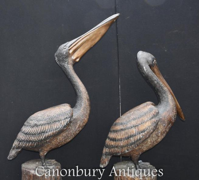 Pair Giant Bronze Pacific Pelican Birds Architectural Bronze